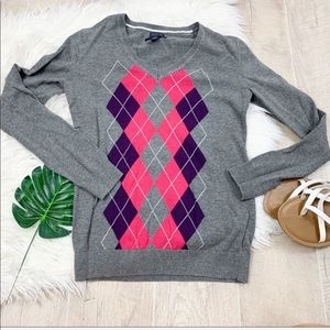 Tommy Hilfiger Gray Printed Knit Sweater D1242